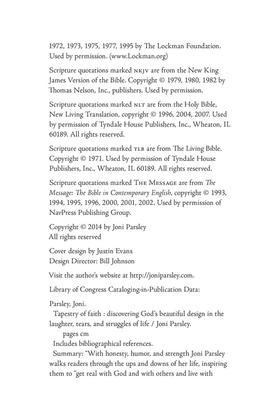 The Publishers Information from Joni Parsley's new book - Tapestry of Faith