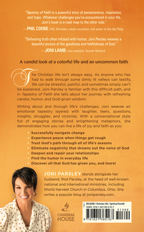 The Back Cover of Joni Parsley's new book - Tapestry of Faith